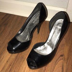 Black Peep-Toe Heels